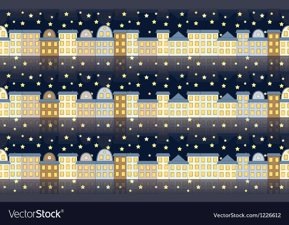 Pattern with buildings at night vector | Price: 1 Credit (USD $1)