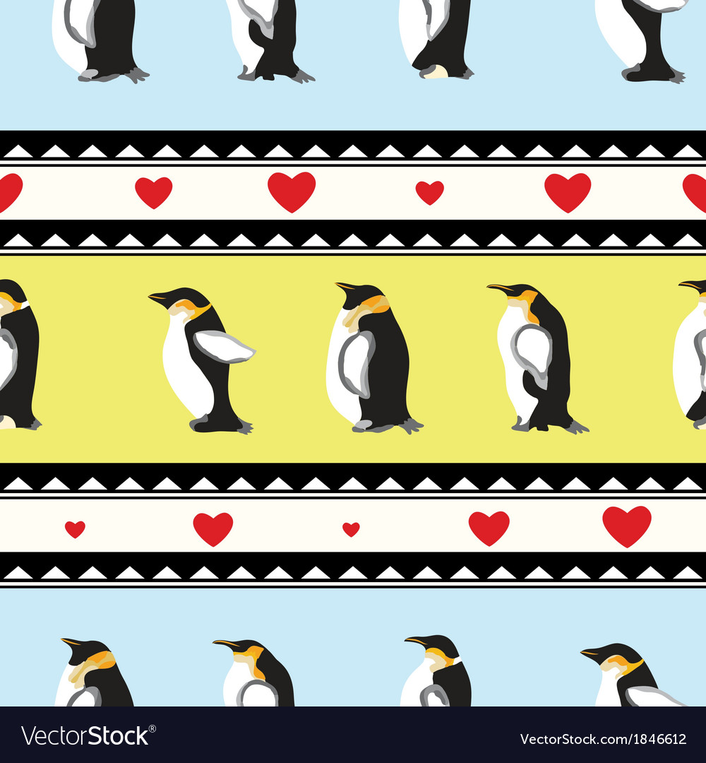 Penguin heart background vector | Price: 1 Credit (USD $1)