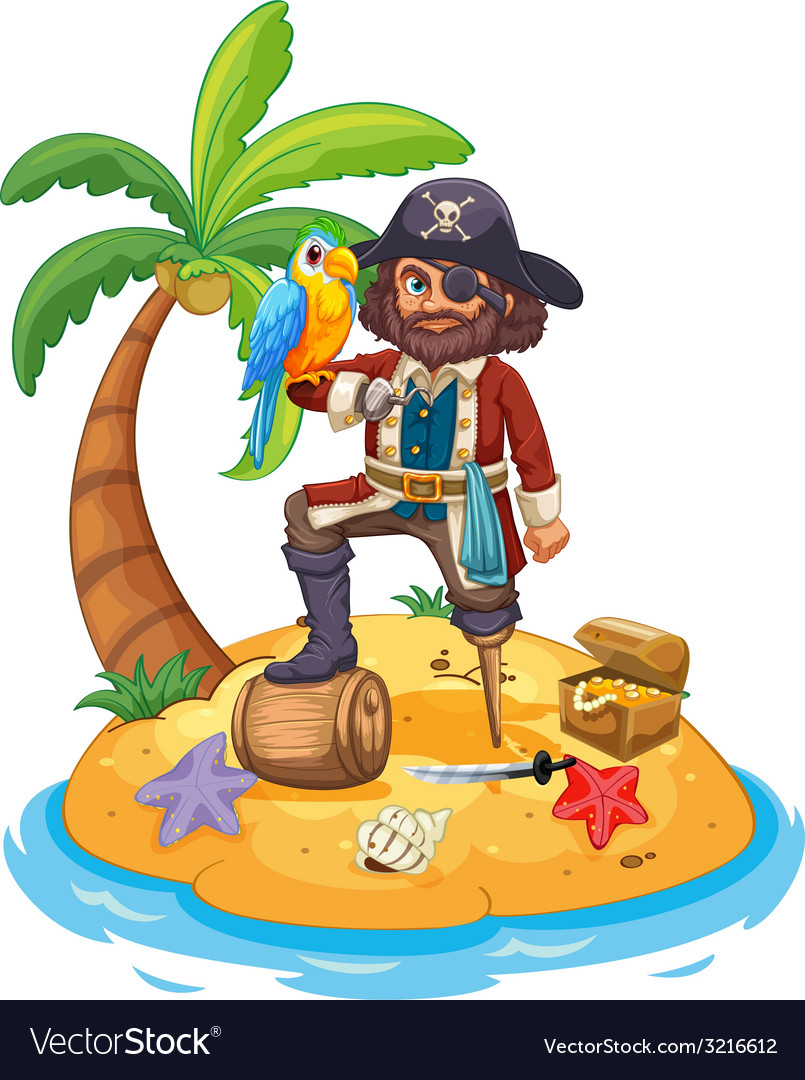 Pirate and parrot vector | Price: 3 Credit (USD $3)