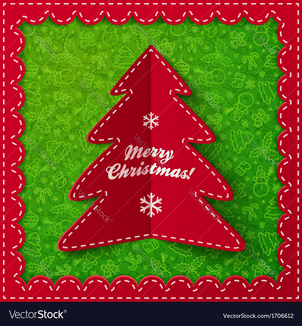 Red folded label christmas tree vector | Price: 1 Credit (USD $1)