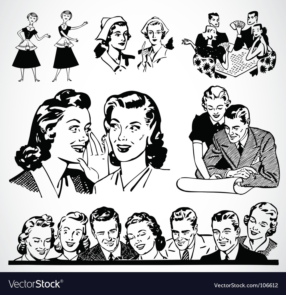 Retro men and women vector