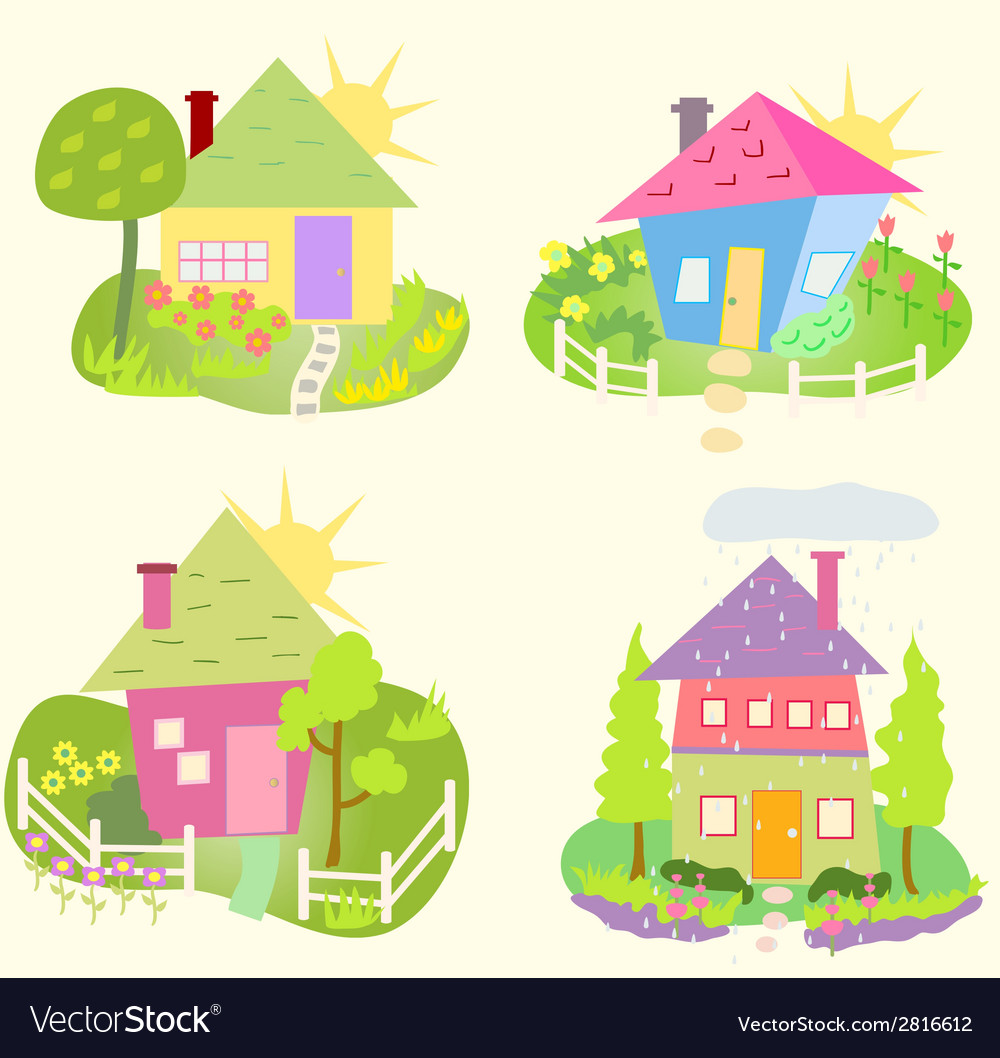 Spring home icons vector | Price: 1 Credit (USD $1)
