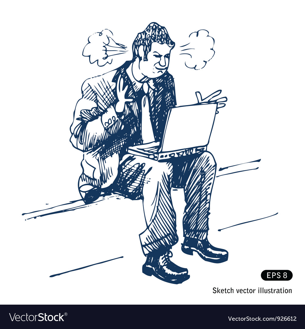 Stressed man sitting on step with laptop vector | Price: 1 Credit (USD $1)