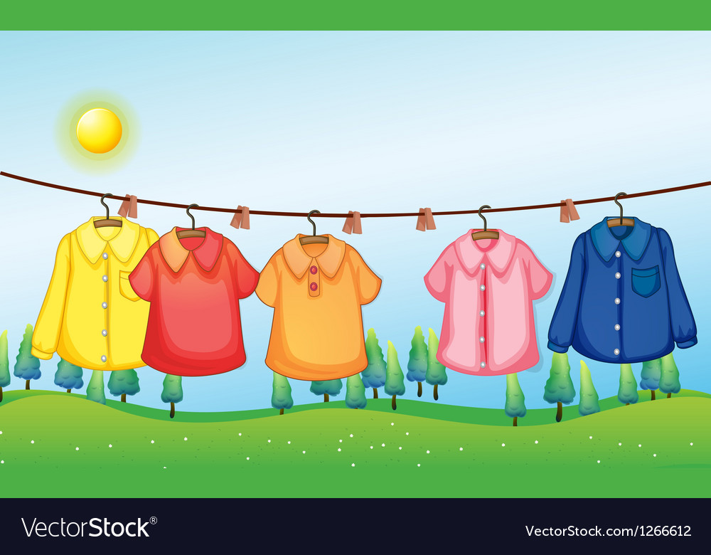 Washed clothes hanging under the sun vector   Price: 1 Credit (USD $1)