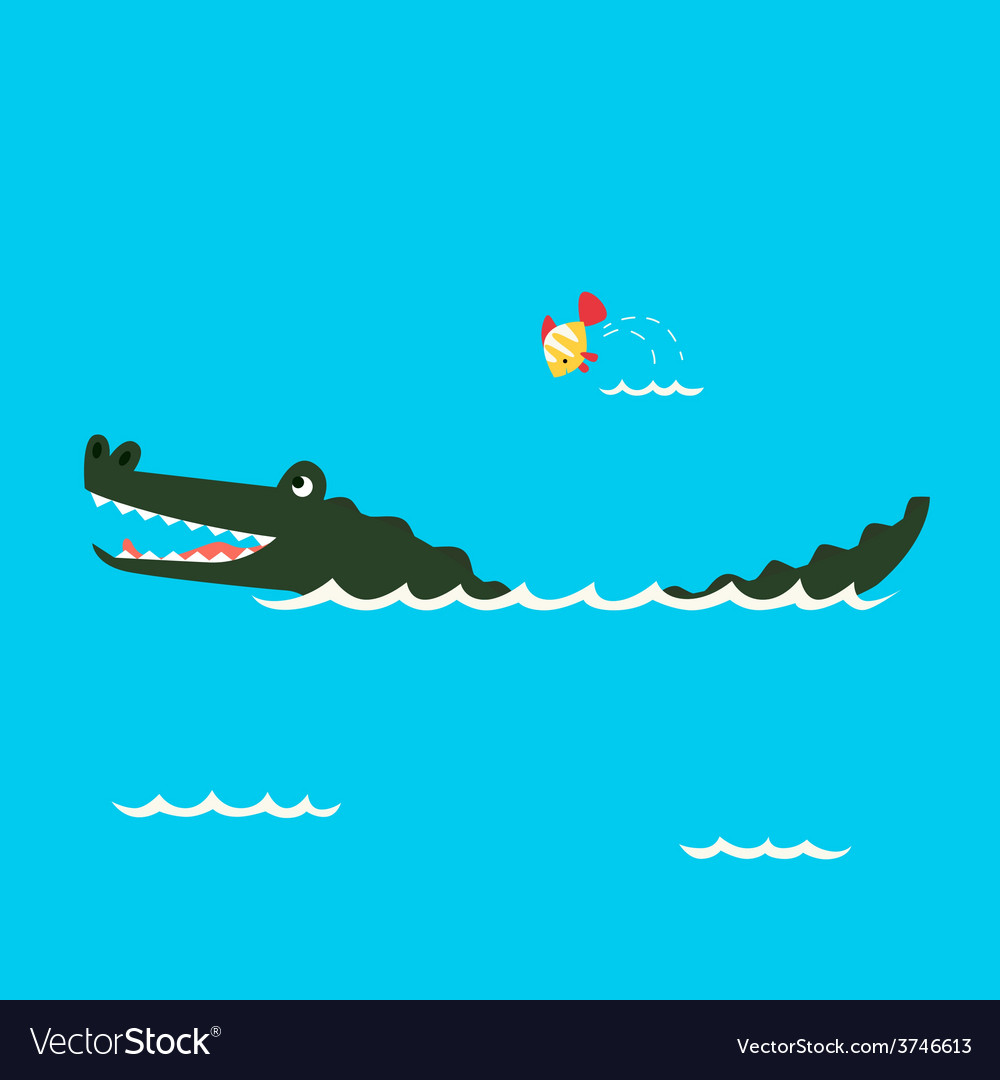 Alligator and little fish vector | Price: 1 Credit (USD $1)