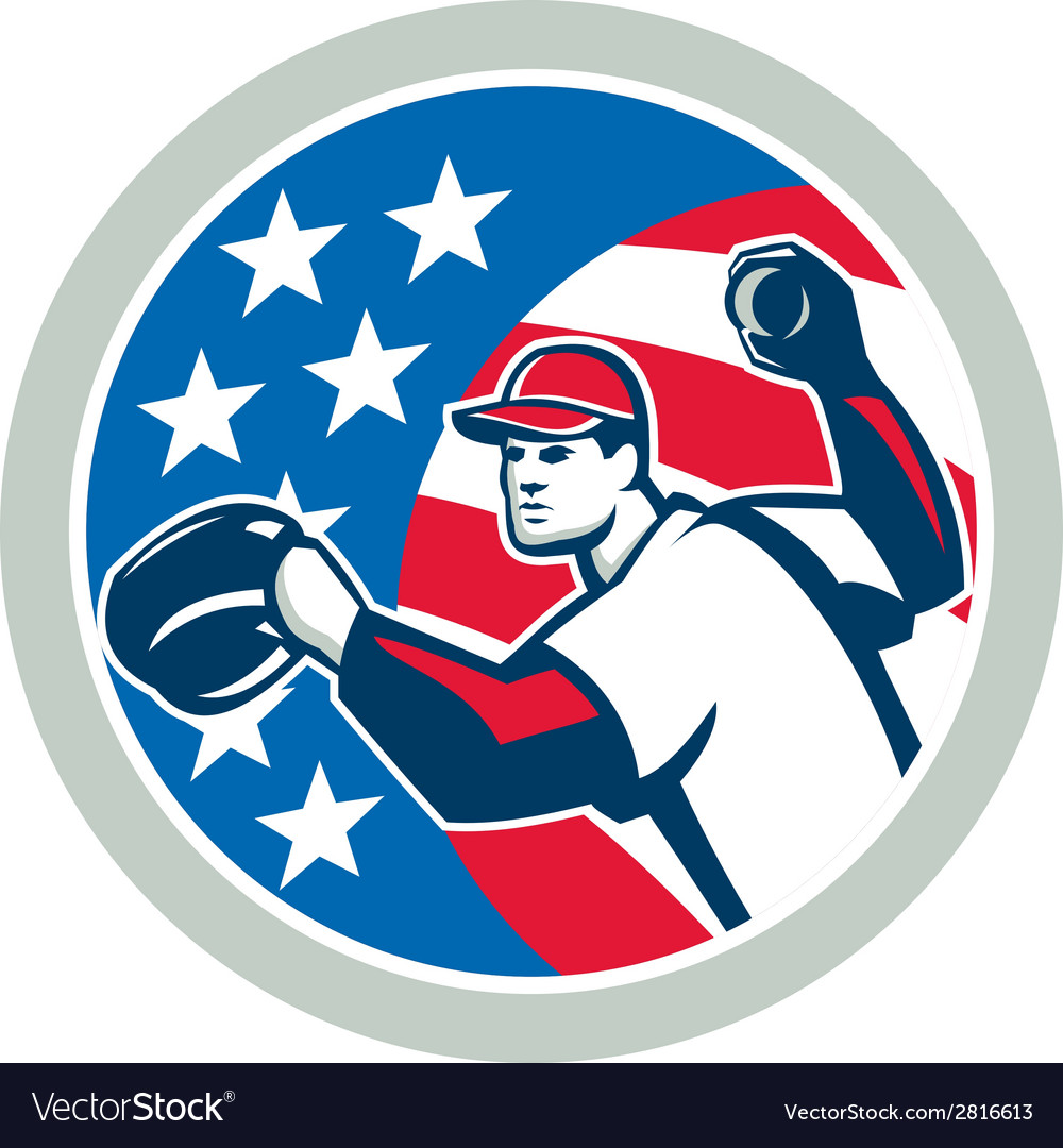 American baseball pitcher throwing ball retro vector | Price: 1 Credit (USD $1)