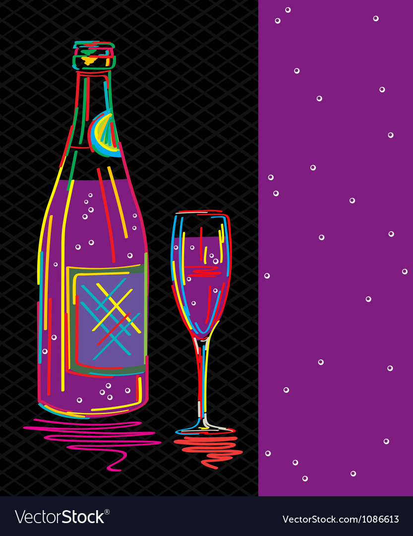 Champagne card vector | Price: 1 Credit (USD $1)