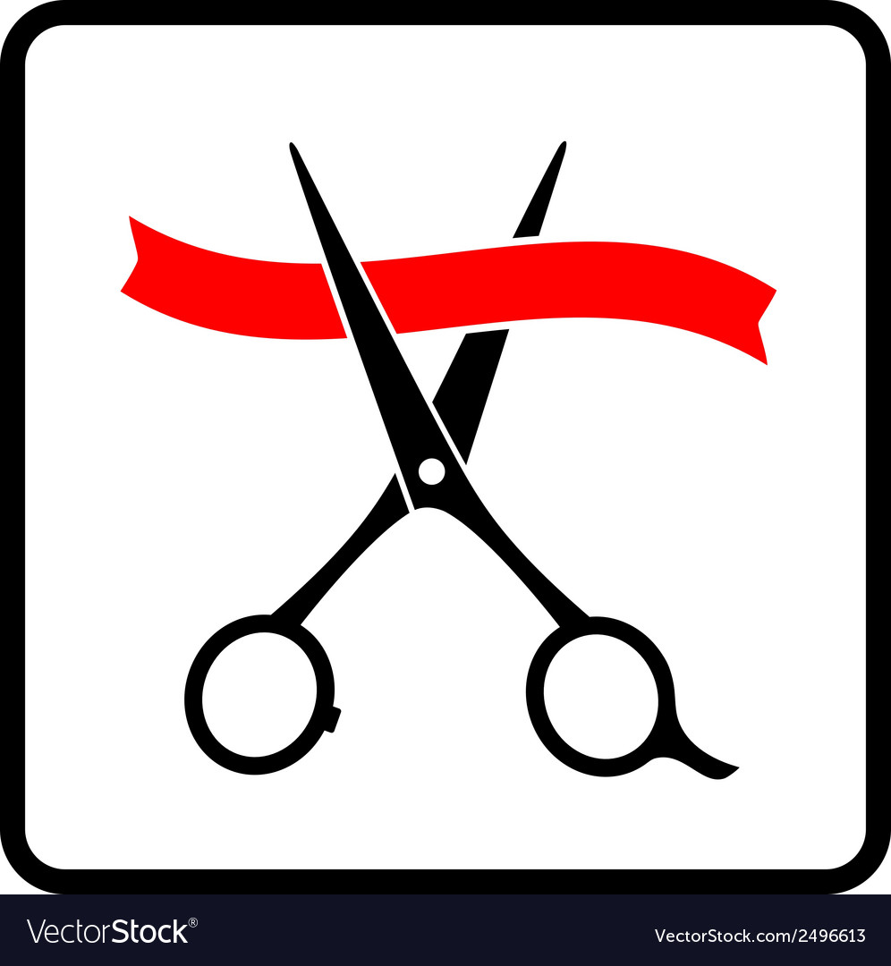 Cutting scissors and red tape vector | Price: 1 Credit (USD $1)