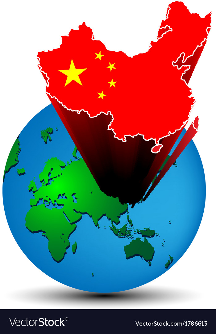 Flag china map on the earth vector | Price: 1 Credit (USD $1)