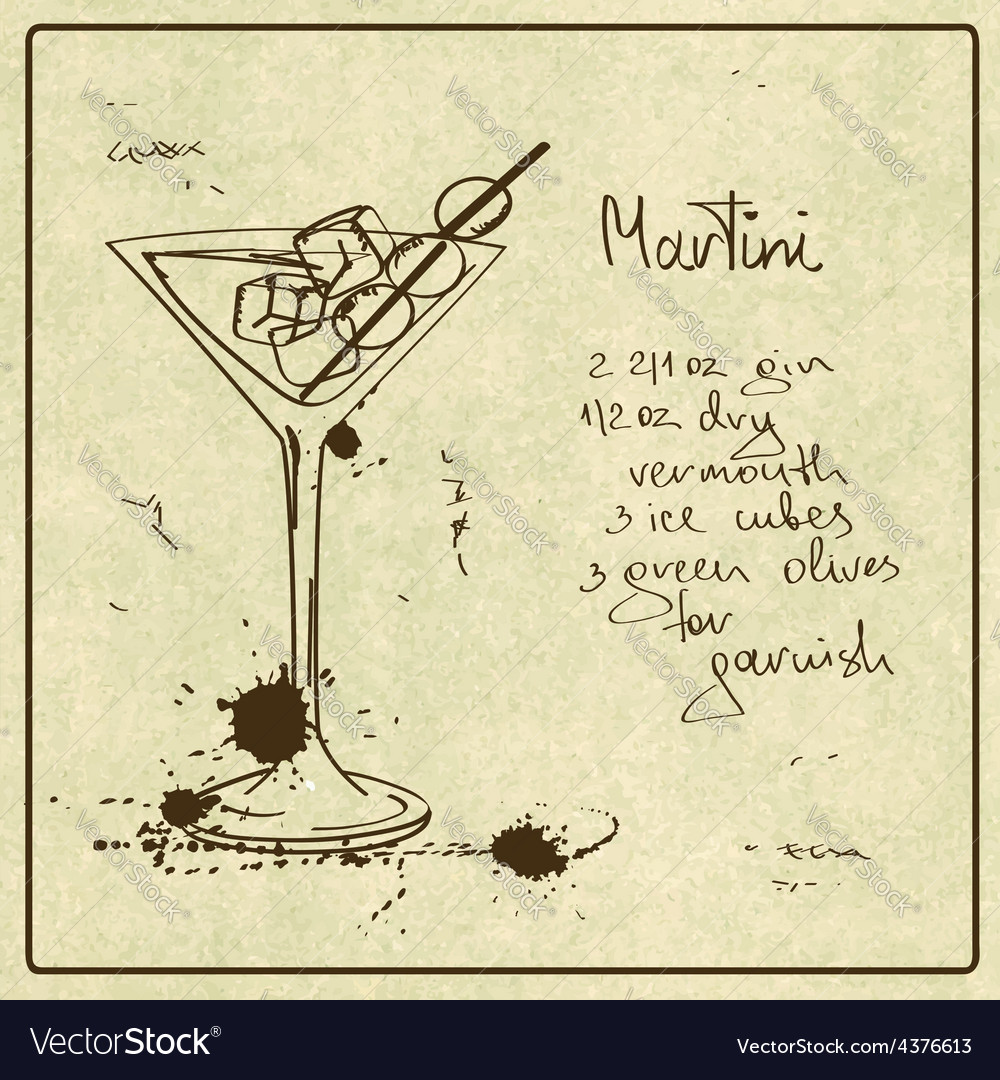 Hand drawn martini cocktail vector   Price: 1 Credit (USD $1)