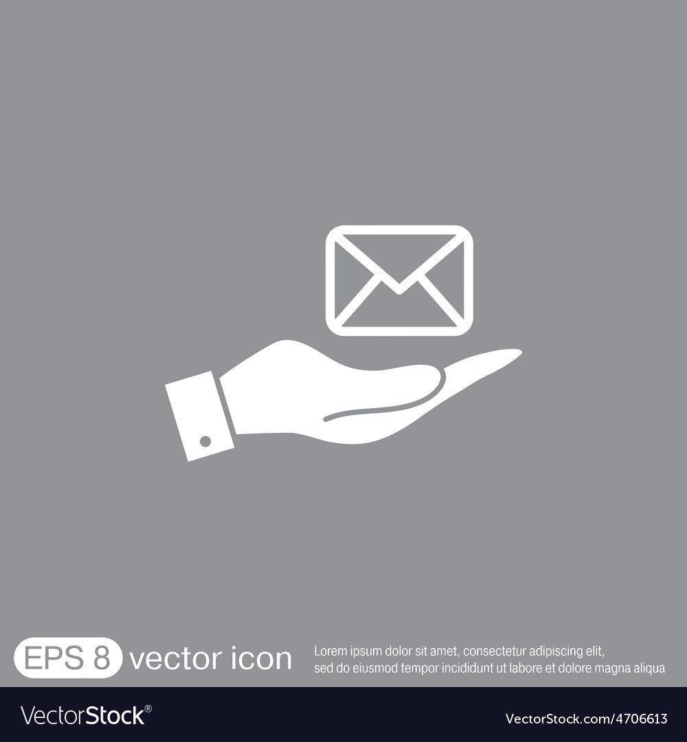 Hand holding a postal envelope e-mail symbol icon vector | Price: 1 Credit (USD $1)