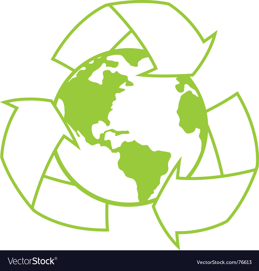 Planet earth with recycle symbol vector | Price: 1 Credit (USD $1)