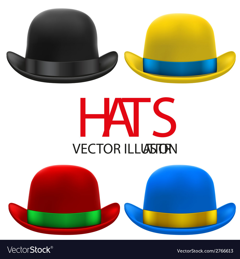Set of colorful bowler hats vector | Price: 1 Credit (USD $1)