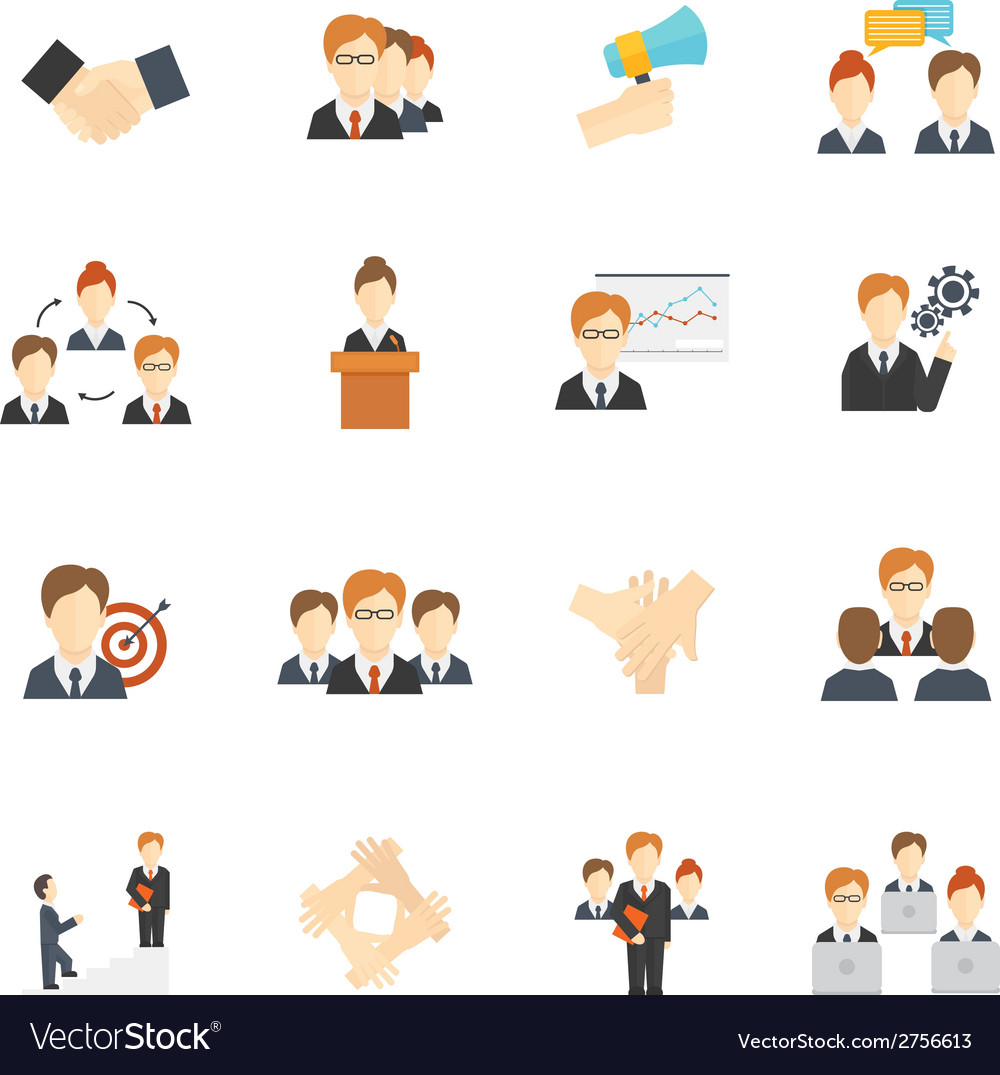 Teamwork icons flat vector | Price: 1 Credit (USD $1)