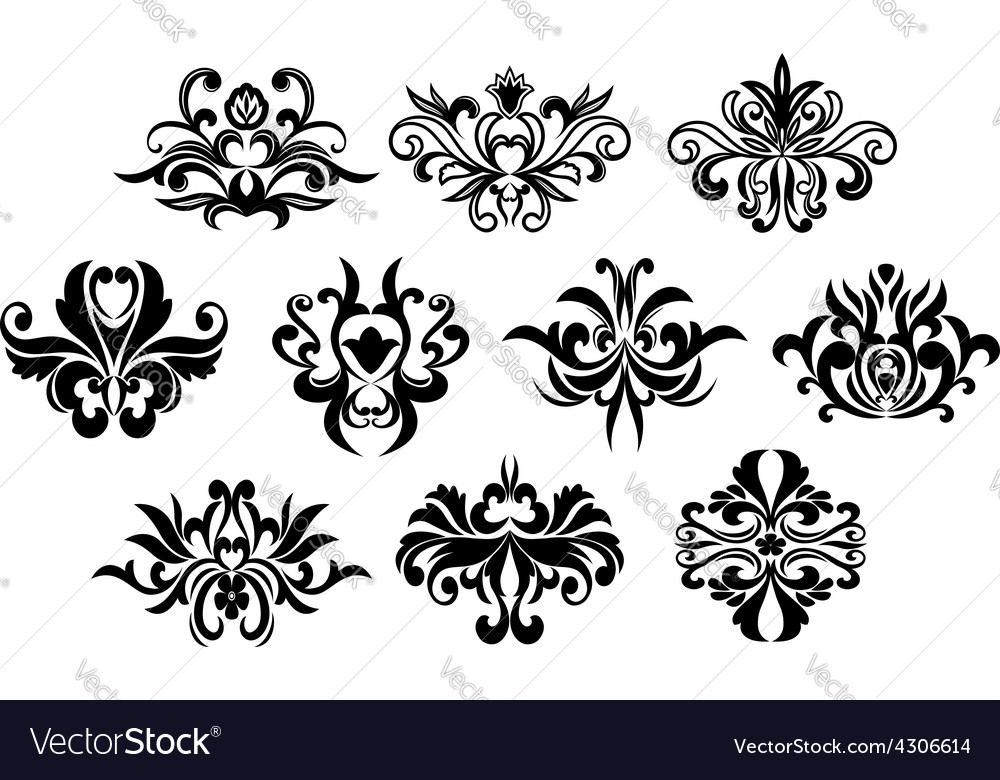 Black flowers silhouettes design elements vector | Price: 1 Credit (USD $1)
