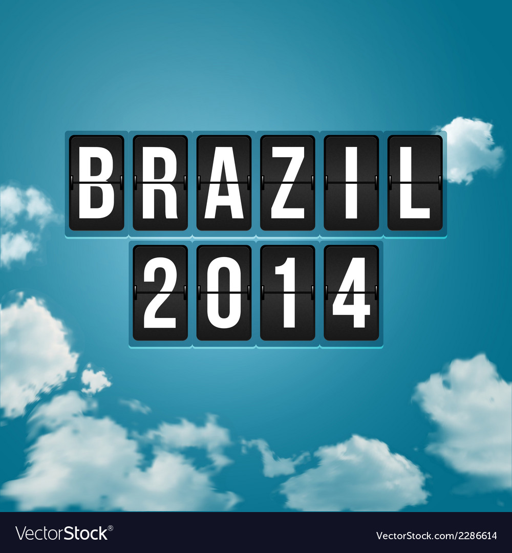 Brazil 2014 football poster sky background and vector | Price: 1 Credit (USD $1)