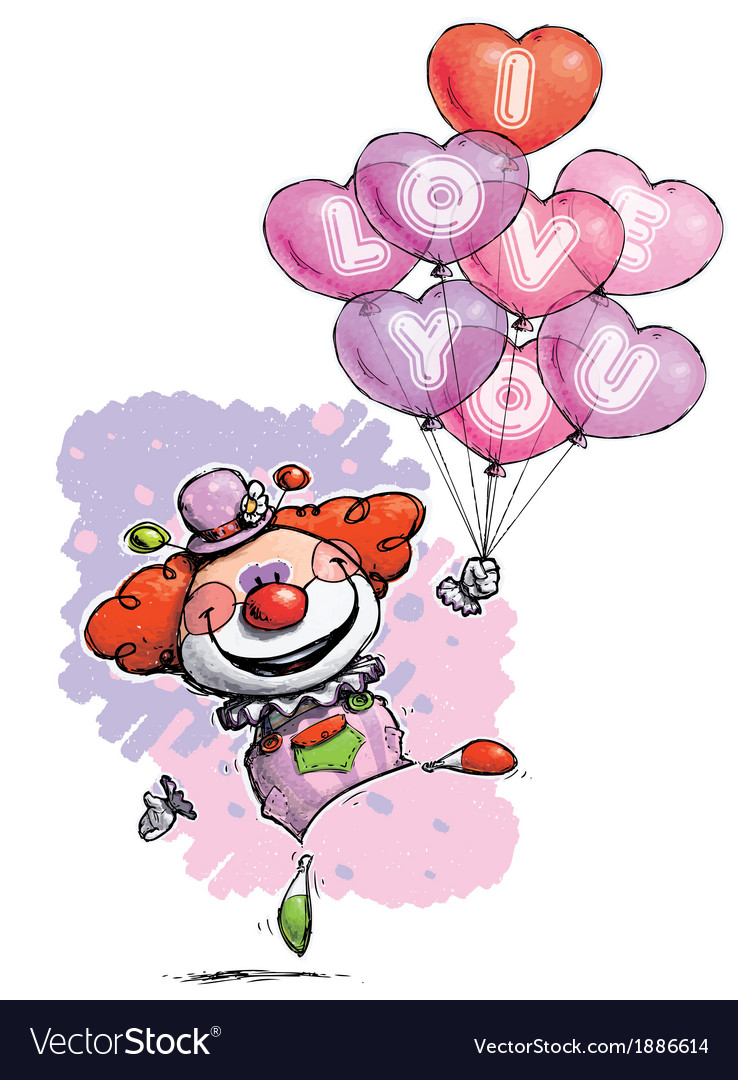 Clown with heart balloons saying i love you vector | Price: 3 Credit (USD $3)