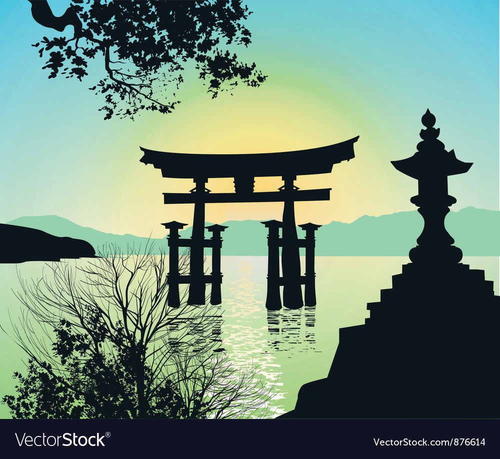 Evening landscape vector | Price: 1 Credit (USD $1)