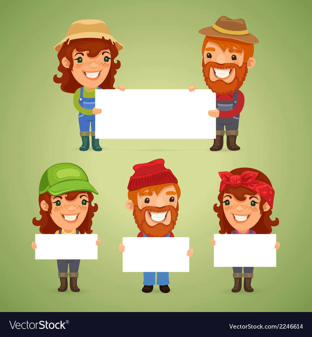Farmers with blank placards vector | Price: 1 Credit (USD $1)