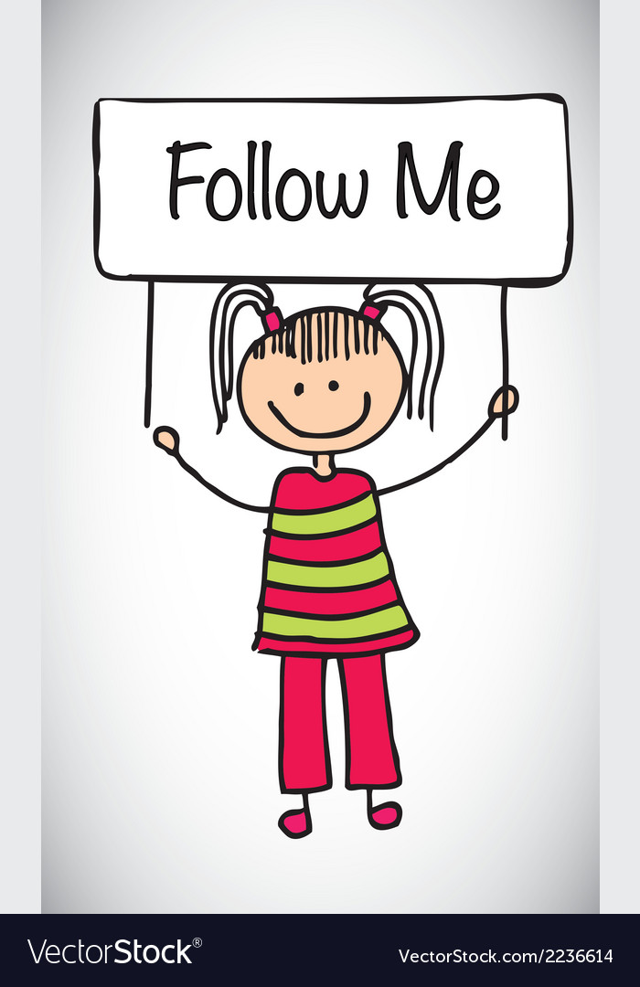 Follow me girl vector | Price: 1 Credit (USD $1)