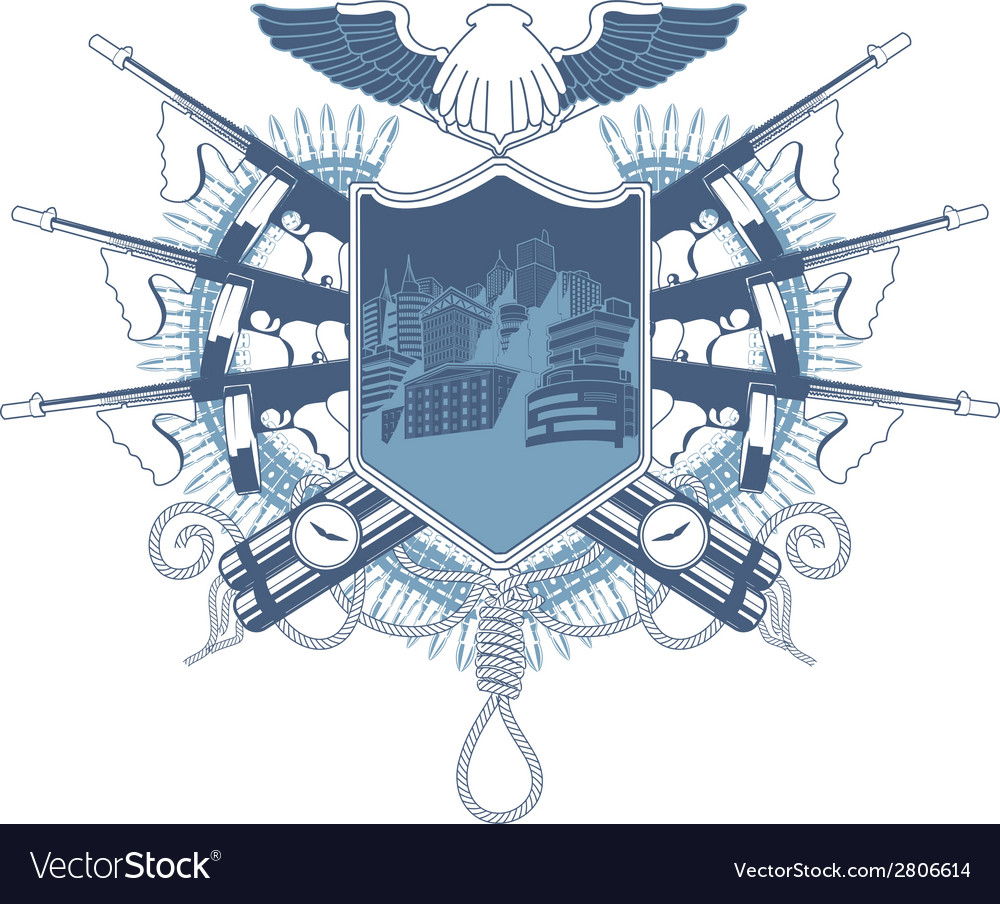 Mafia heraldic coat of arm with tommy-gun vector | Price: 1 Credit (USD $1)