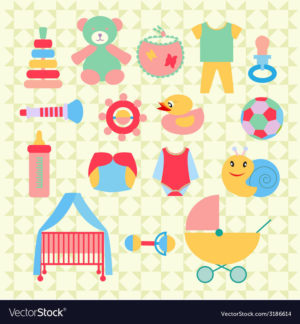 Newborn baby stuff icons set - vector | Price: 1 Credit (USD $1)
