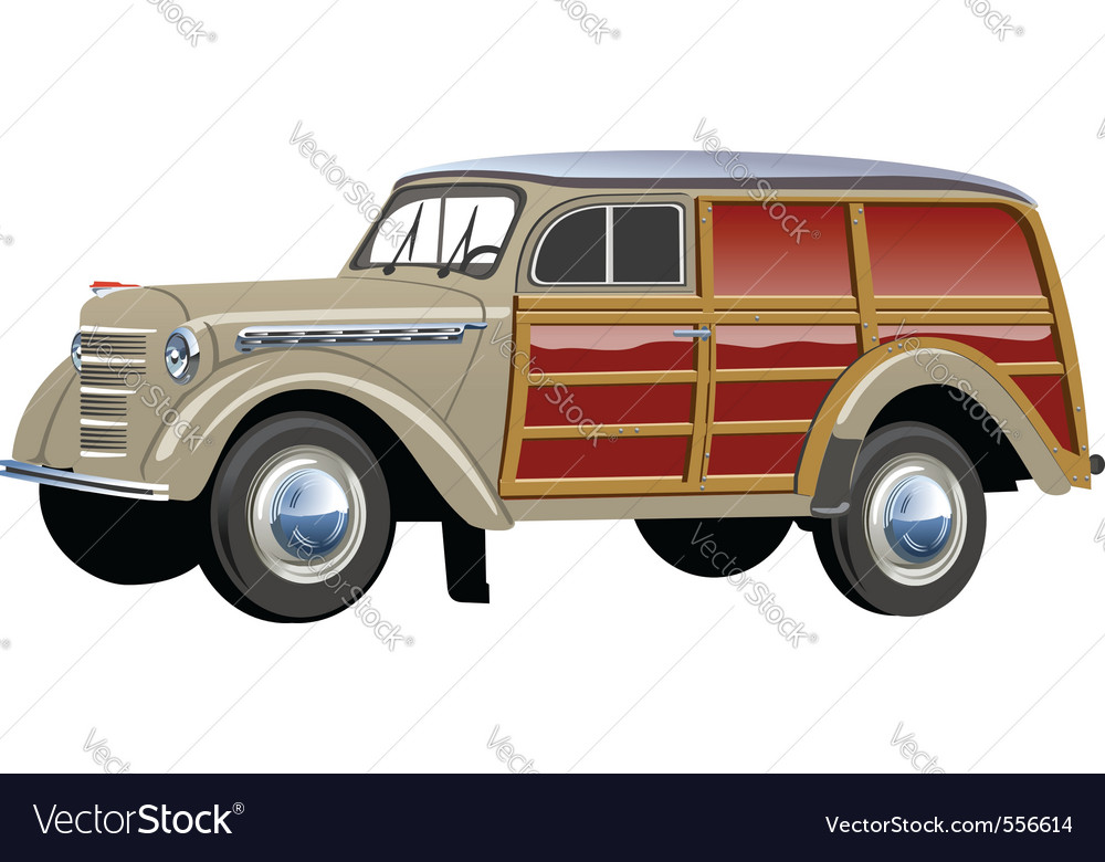 Retro woody van vector | Price: 1 Credit (USD $1)