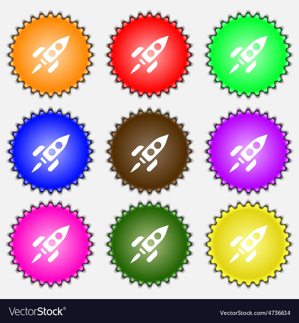 Rocket icon sign a set of nine different colored vector | Price: 1 Credit (USD $1)