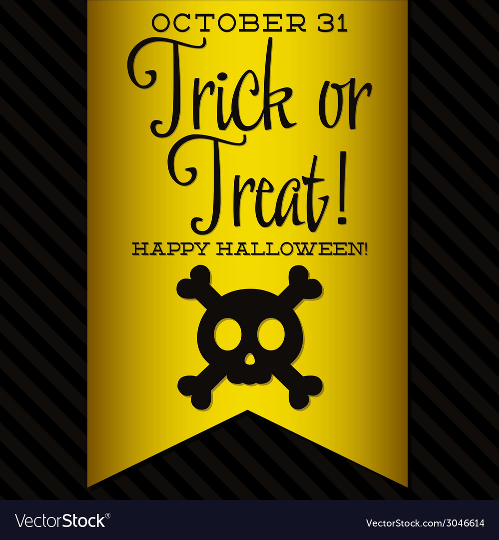 Skull and crossbones halloween sash card in format vector | Price: 1 Credit (USD $1)