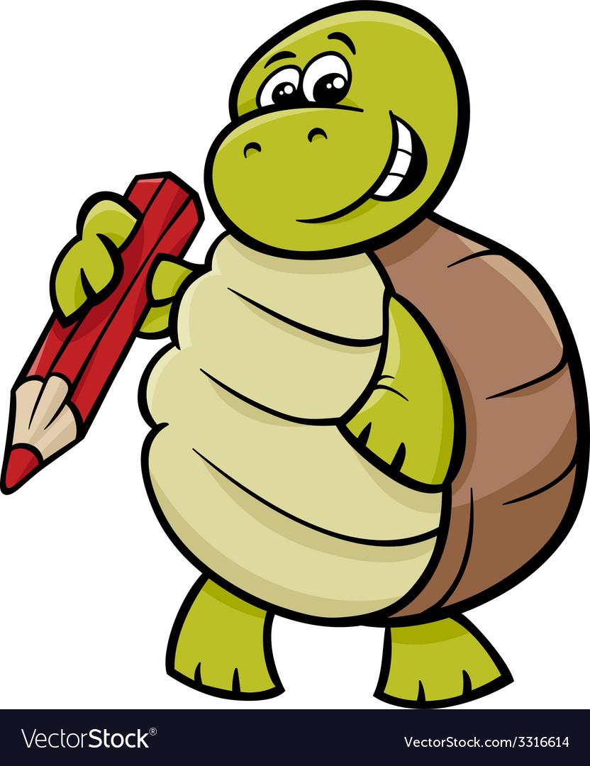 Turtle with pencil cartoon vector | Price: 1 Credit (USD $1)