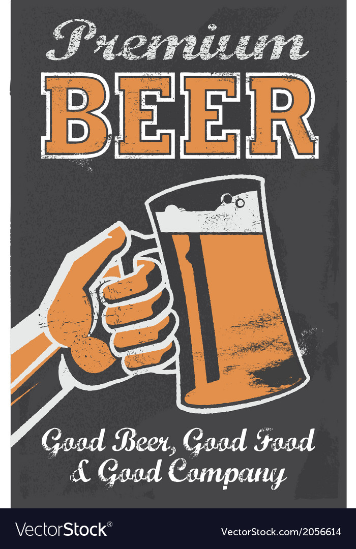 Vintage style chalkboard beer sign vector | Price: 3 Credit (USD $3)