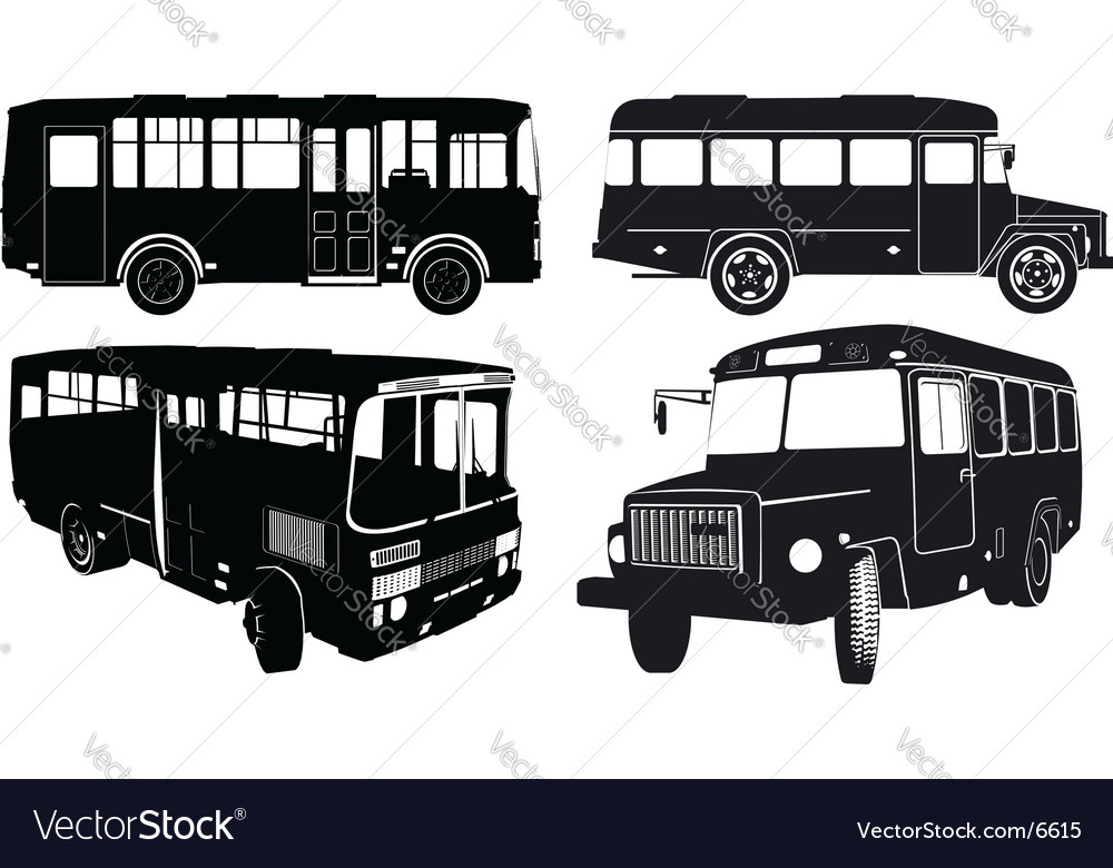 Bus silhouettes vector | Price: 1 Credit (USD $1)