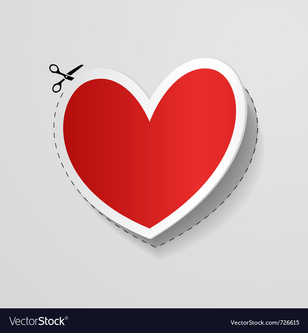 Cut heart shaped sticker vector | Price: 1 Credit (USD $1)
