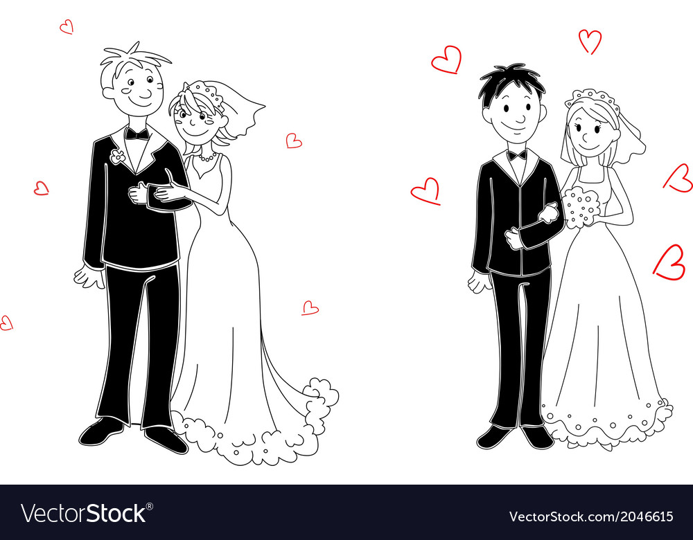 Doodle couple on wedding ceremony vector | Price: 1 Credit (USD $1)