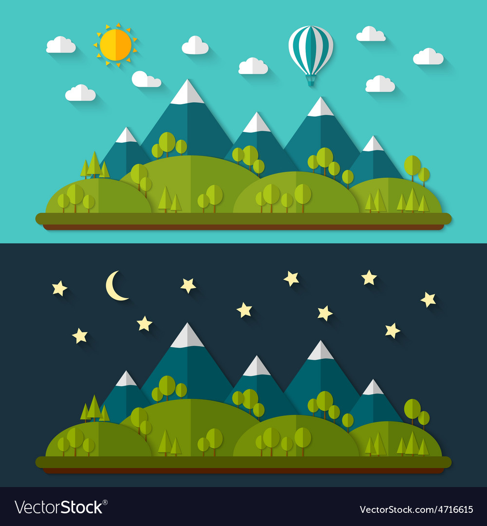 Flat nature landscape vector | Price: 1 Credit (USD $1)