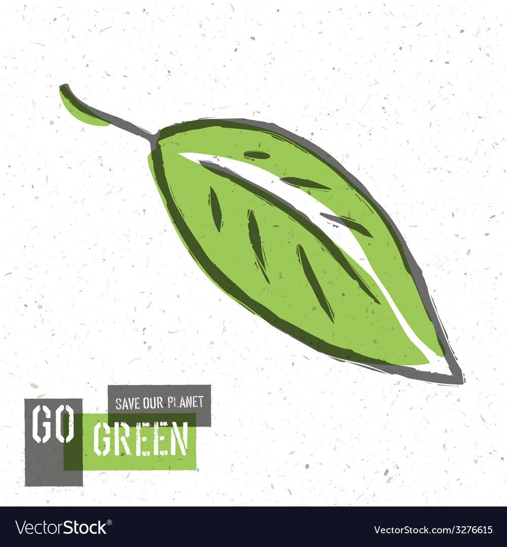 Green leaf go green concept vector | Price: 1 Credit (USD $1)