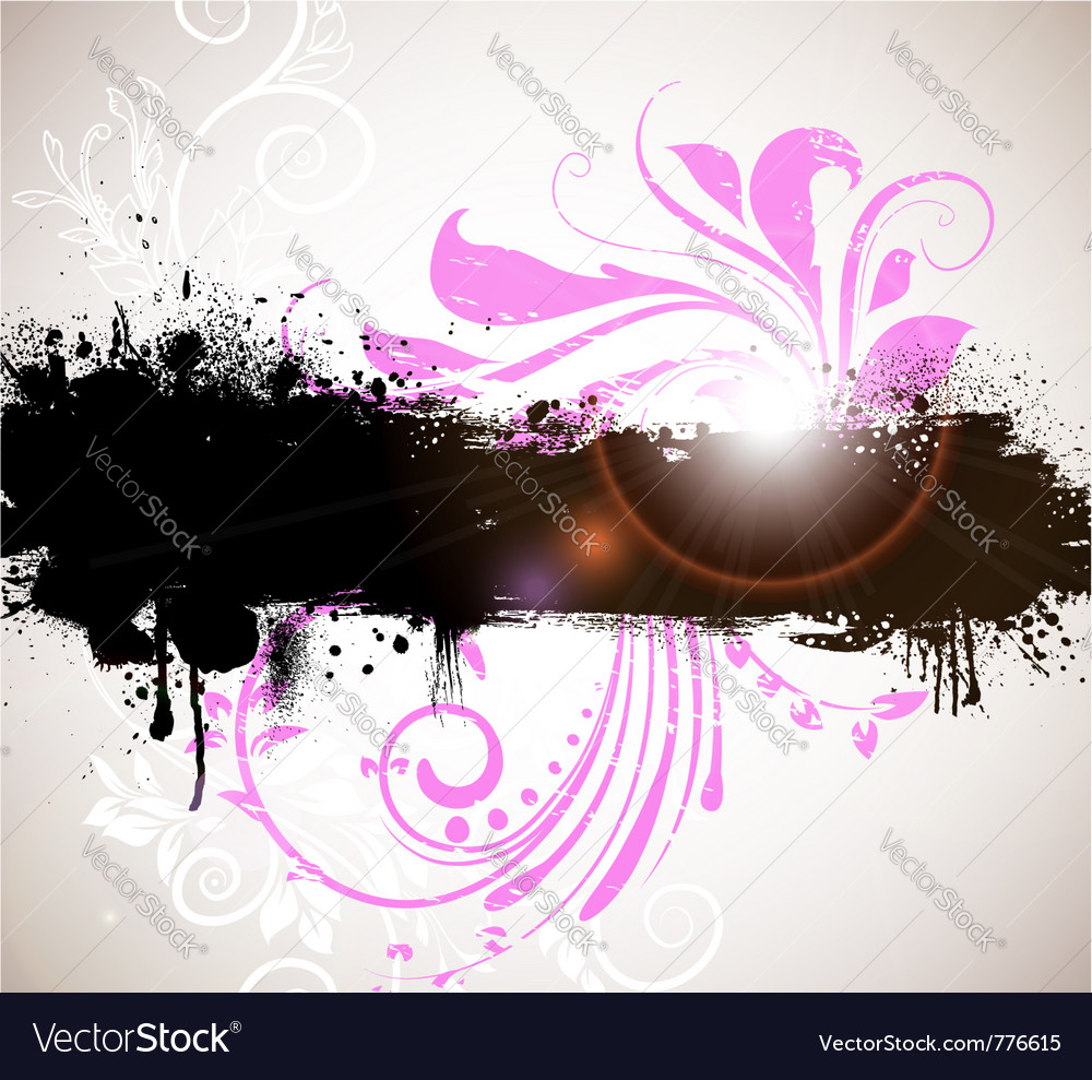 Grunge banner with floral background vector | Price: 1 Credit (USD $1)