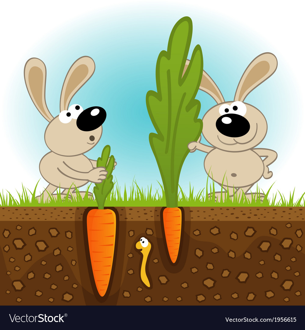 Hares big and small carrots vector | Price: 1 Credit (USD $1)