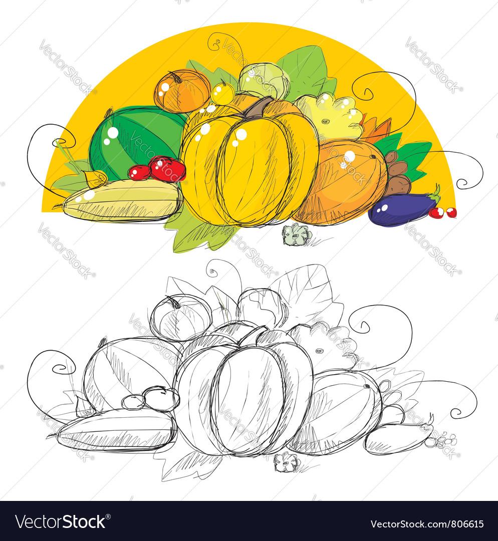 Harvest vegetables vector | Price: 3 Credit (USD $3)