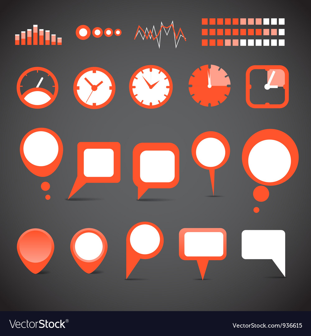 Indicators and speech clouds collection vector | Price: 1 Credit (USD $1)