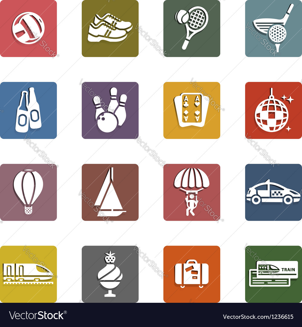 Recreation vacation  travel icons set vector   Price: 1 Credit (USD $1)
