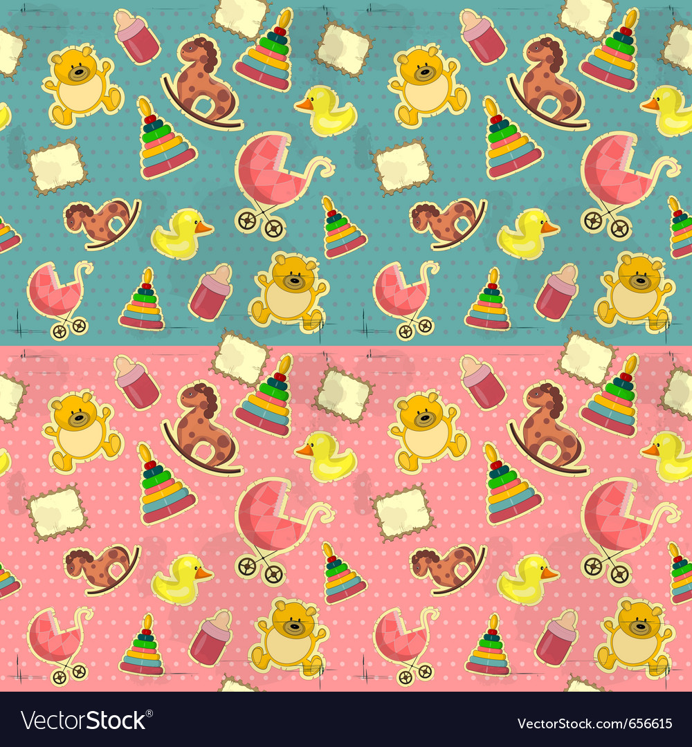 Seamless infant deco pattern vector | Price: 1 Credit (USD $1)