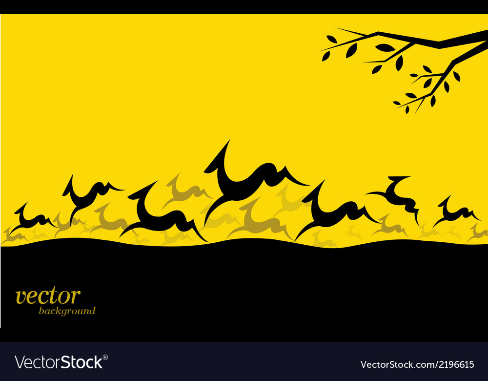 Silhouette of a herd of deer vector | Price: 1 Credit (USD $1)