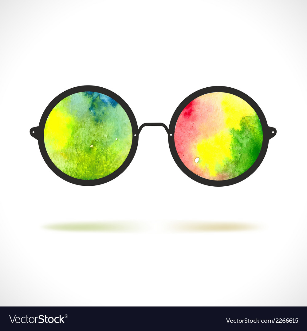 Sun glasses with reflection of colorful watercolor vector | Price: 1 Credit (USD $1)
