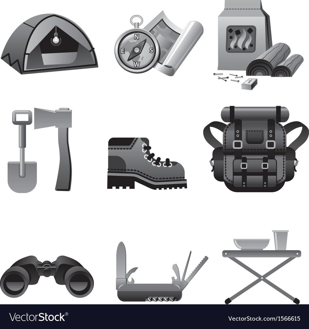 Tourism equipment icon gray vector | Price: 1 Credit (USD $1)