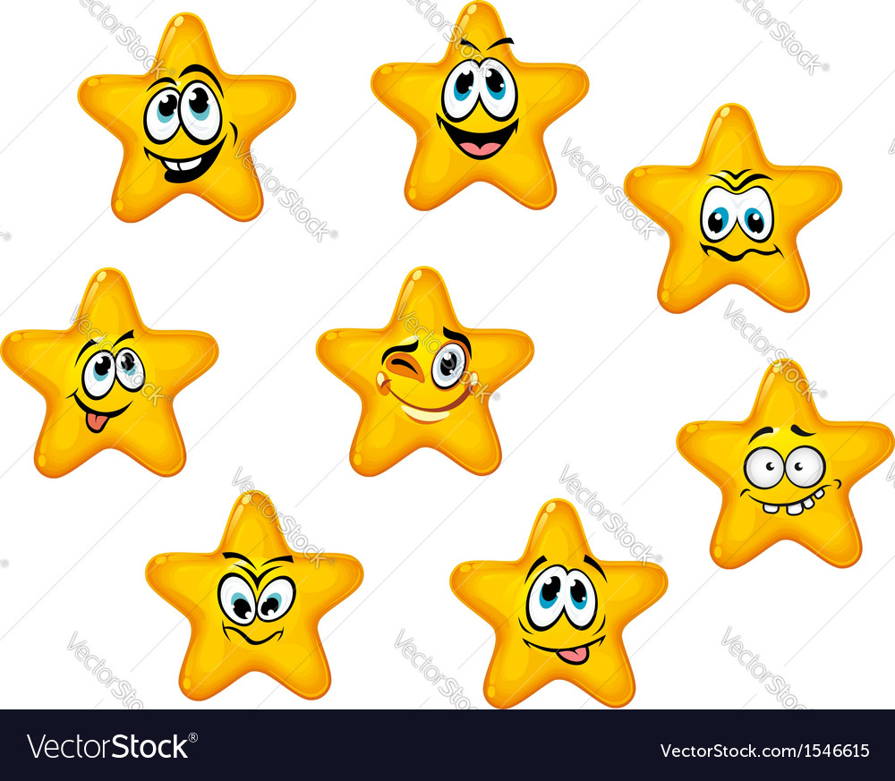 Yellow stars with emotional faces vector | Price: 1 Credit (USD $1)