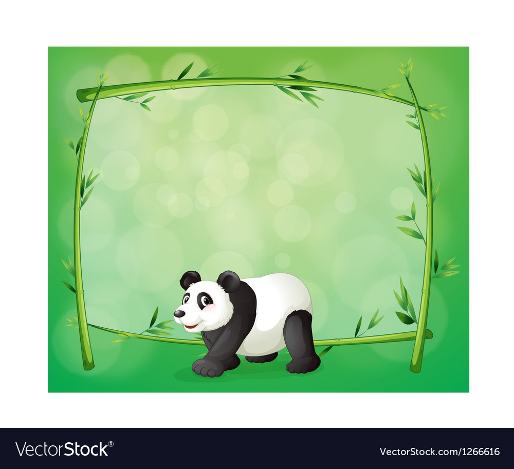 A framed bamboo with a big panda vector | Price: 1 Credit (USD $1)