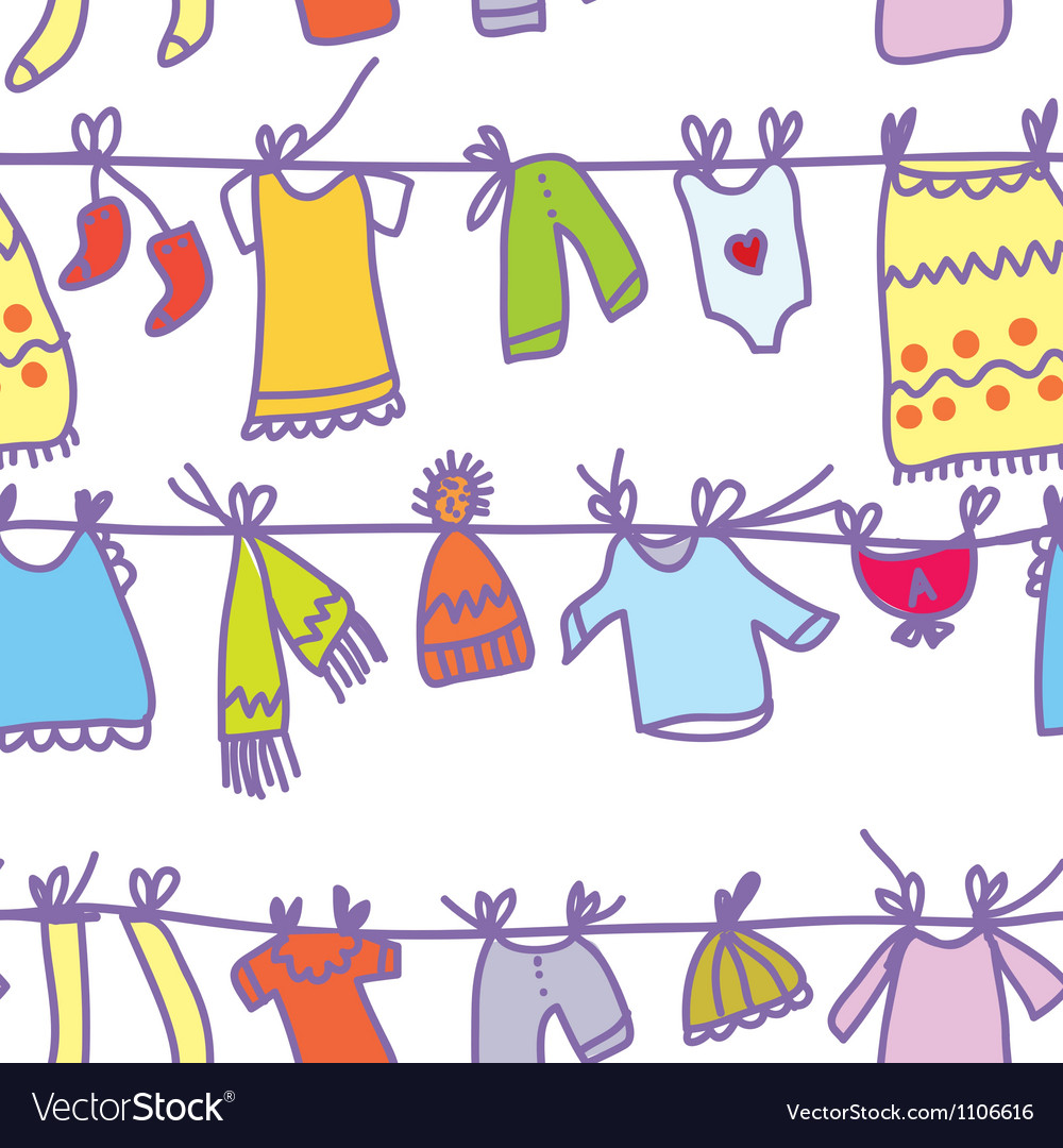 Baby clothes set seamless pattern vector | Price: 1 Credit (USD $1)