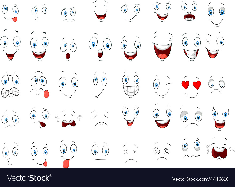 Cartoon of various face expressions vector | Price: 1 Credit (USD $1)