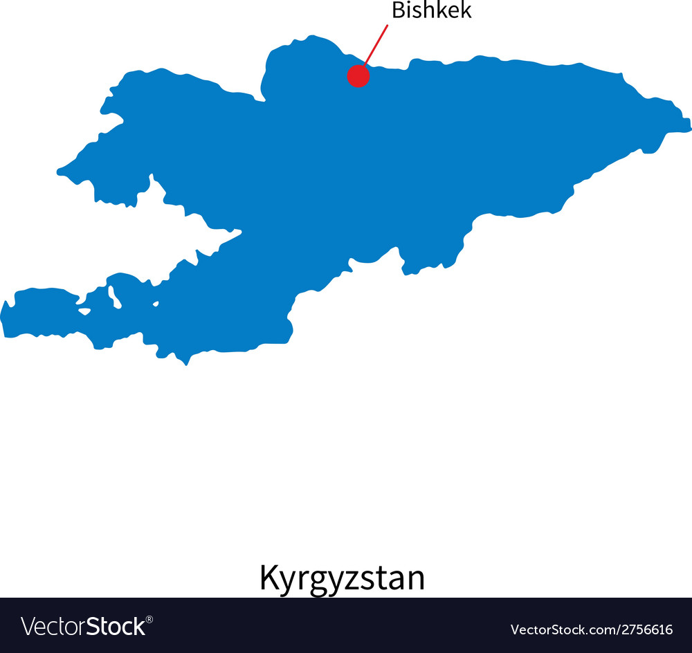 Detailed map of kyrgyzstan and capital city vector | Price: 1 Credit (USD $1)